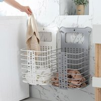 Laundry Bags Foldable Basket Wall-Mounted Household Bathroom Perforated-Free Clothing Storage Single-Layer Double-Laye DA