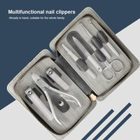 Nail Art Kits Profession Stainless Steel Tool Set With PU Bag 6 8pcs Clippers Dead Skin Fork File Travel Case Kit