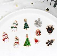 Serie di smalto Accessori FAI DA TE ACCESSORI IN LOY Goccia Olio Snowman Snowflake Fiocco di Natale Deer Cervi Charms Ciondolo per gioielli Mking