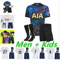 Adulto Kids Kit 21 22 Kane Son Bergwijn Ndombele Futebol Jerseys 2021 2022 Tottenham Lucas Dele Jersey Camisa De Futebol Terno com Socks Lo Celso Home Bale