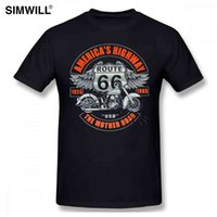 Highway Breathable Route T-shirt Mens 66 Short America Sleeve Cotton Tees Top Round Neck Biker T shirts Oversi