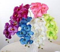 Real Touch Butterfly Орхидея Филиал Искусственные Шелковые Цветы Свадьба Домашняя Вечеринка Декор Завод Поддельных Phalaenopsis