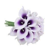 Dekoratif Çiçekler Çelenk 20 Gerçekçi Simülasyon Calla Zambak DIY Gelin Düğün Buket Centerpieces Için Uygun Ev Dekorasyon