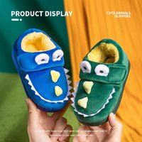 Slipper 1-5 Years Old Winter Children's Cotton Slippers Warm Non-slip Home Lovely Boys And Girls Hook Loop Shoes