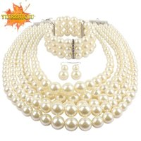Earrings & Necklace Layered Pearl Set For Women 2021 Fashion Bead Choker Bracelet Lady Collar Decoration Neck
