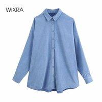 WixRA Femmes Loose Blouses Chemises Chemises Femme Single Femelle Fashion Automne Hiver Vidon