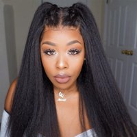 Cambodian Yaki Human Hair Wigs For Black Women Kinky Straight Lace Front Wigs Pre Plucked Bleached Knots