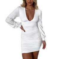 Günlük Elbiseler Kayotuas Kadın Elbise Ofis Bayanlar Pileli Dantelli V Yaka Uzun Kollu Bahar Sonbahar Moda Çanta Kalça Bodycon Clubwear