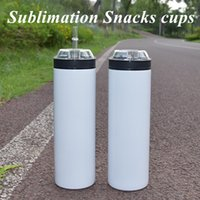 Subliamtion Snacks cups 20oz STRAIGHT Tumbler Double Wall Rainbow color Travel mug Stainless Steel Vacuum Insulated Travel coffee mug with Straw and lid
