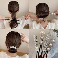 Hair Accessories Pearls Magic Bun Maker Hairbands Donut Pearl Flower Bands Fashion Girls DIY Hairstyle Headband Tools