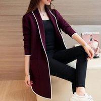 Women's Jackets Female Elegant Turn-down Collar Outerwear Coat Spring Autumn Medium-long Cardigan For Women