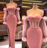 2021 Elegant Formal Evening Dresses Dusty Pink Sheath Floor Length Off The Shoulder Sequins Long Sleeves Prom Gowns Exposed Boning Side Split Party Reception Dress