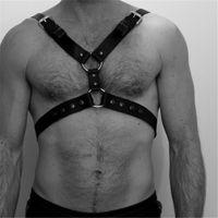 페티쉬 남성 가슴 하네스 섹시한 가죽 바디 본디지 조절 벨트 O 링 연결 에로틱 한 BDSM 파티 란제리 고딕 게이 스트랩