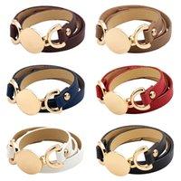 PU Leather Bracelets Bangles Women Multilayer Adjustable Fashion Design Round Metal Wrap Charm Bracelet Leopard Lady Hand Cuff Button Punk Couple Jewelry Gifts