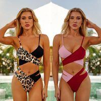Cross Bandage Leopard Bikini Sexy Swimsuit Brazilian Swimwear Women 2021 High Waist Bathing Suit Push Up Swimming Biquini Women's