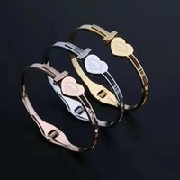 Fashion Simple Titanium Stainless Steel Link Chain Love bracelet Unisex Double T-shaped Full Diamonds Snap Bracelets with Copper Micro-inlaid