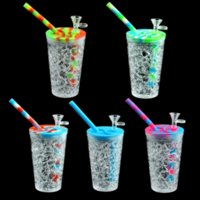 157mm*68m Summer style drink cup Water Pipes Silicone Dab Rig Glass Oil Rigs herb bubbler glass bowl silicone Bong Mini Pipe Recycler Hookah