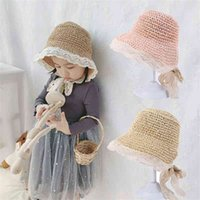 Children's straw hat girl's summer sun protection lace tie Baby Beach fisherman's