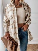 Женская клетчатая рубашка блузка осень повседневная свободная кармана с длинным рукавом толстые BF негабаритные женские куртки пальто топы вершины наряды Blusa