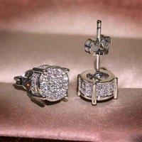 Goujons diamant de simulation pour hommes et femmes simples mode rond quatre diamants micro féminin