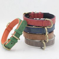 Dog Collars & Leashes 1pc Leather Collar Adjustable Neck Strap For Small Medium Large Dogs Retro Style D Shaped Ring Leash 4 Size