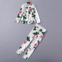 여자의 tracksuits 패션 봄 가을 두 조각 세트 2021 여성 활주로 디자이너 우아한 꽃 인쇄 블레이저 + 바지 복장