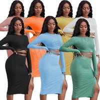 Fashion Women 2 Two Piece Dress suit Rib pit strip bandage cut top button split pencil skirt set ladies nightclub plus size clothing knitted streetwear clothes