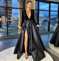 Sexy Side Split Black Prom Dresses 2021 Deep V Neck Sparkly Sequined Top Long Sleeve Floor Length Pageant Party Gowns Formal Evening Dress
