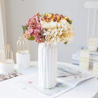 Искусственные цветы Silk Hydrangea филиал дома Свадебное декор Autum Поддельные пластиковые растения Высококачественная партия комната сад декоративные венки