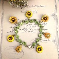 Charm Bracelets Retro Bohemian Cute Enamel Sunflower Daisy Charms Bracelet For Women Child Chain Wristband Jewelry Gift
