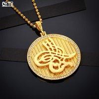 Среднее Восточное Исламские Мусульманские Женщины 45 мм Круглые Кулон Ожерелье Мода Аксессуары Ювелирные Изделия Подарки Настоящее Позолоченное Недоставление ожерелья