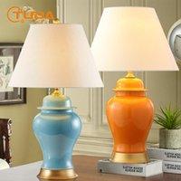 테이블 램프 Tuda 38x62cm 간단한 미국 스타일 중국어 블루 오렌지 노란색 세라믹 램프 침실 거실 침대 옆