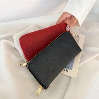 Card Holders Vintage PU Leather Women Long Wallet Solid Color Checker Ladies Casual Small Handbags Holder Day Clutch