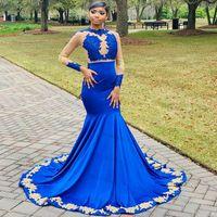 Royal Blue Long Sleeve Mermaid Evening Dress With Gold Appliques Plus Size African Black Girls Prom Dresses Formal Party Wear Robe De Soirée Vestido Largo Fiesta