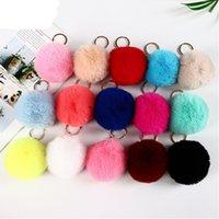 25 colori 8 cm coniglio pelliccia portachiavi pompom peluche palle palle borsa portachiavi pendente GWF8444