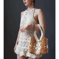 Дизайнер Роскошные шерстяные вязаные хлопчатобумажные веревки плетеные сумки женщин 2021 дизайнер Все ручной модной сумки с ручкой для женщин C0508