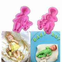 3D Boy Girl Baby Doll Bear Silicone Cake Mold Baby Party Fondant Cake Decorating Tools Cupcake Chocolate Baking Moulds