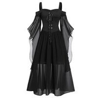 Casual kleider halloween frauen kleid plus größe kalte schulter butterfly sleeve schnelle medienalter kostüme gothic retro