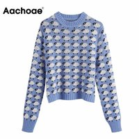 Aachoae Fashion Animal Print Knitted Sweater Women O-neck Pullover Jumpers Autumn Winter Ladies Long Sleeve Casual Tops Women's Sweaters