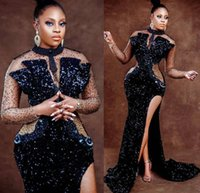 2022 Plus Size Arabic Aso Ebi Black Mermaid Sexy Prom Dresses Beaded High Split Sequined Evening Formal Party Second Reception Gowns Robe De Novia