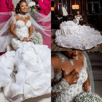 Luxury Plus Size Mermaid 2022 Wedding Dresses Bridal Gowns Tiered Ruffles Long Sleeve Pearls Beaded Crystal Robe de mariée