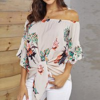 Ladies Printed Off Shoulder Top Tee Sexy Slash Neck Chiffon Knotted Blouses Casual Shirts For Lady Camisas De Mujer Women's T-Shirt