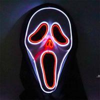 LED Aydınlık Çığlık Ghost El Kablolu Parlayan Kafatası Maskesi Cadılar Bayramı Korku Parti Kostümleri Aksesuarları için Yaratıcı Korkunç Maske Deniz Gemi FWA752
