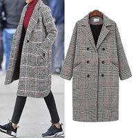 Women's Wool & Blends Chic Thicken Plaid Women Coat Winter Slim Double Breasted Long Outerwear Office Lady Pocket Plus Size