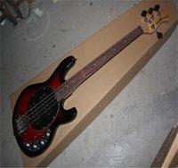 Música de alta calidad Hombre Stingray 4 Wine Red Bass Electric Guitar With 9V Battery Pickups Active