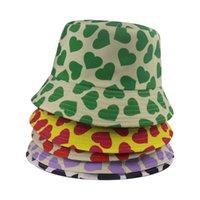 Heart Print Yellow Black White Panama Bucket Hat Men Women Summer Banana Bob Hat Hip Hop Gorros Fishing Fisherman Hat