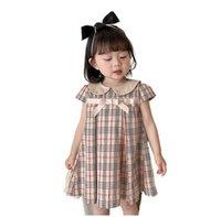 الفتيات القوس مدقق فساتين الصيف 2021 أطفال بوتيك الملابس الكورية 1-6 طن الأطفال قصيرة الأكمام اللباس القطن