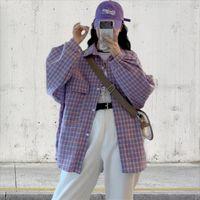 Lattice Women Blouses Fashion Autumn Plaid Shirts Korean Style Long Sleeve Shirt Loose Leisure Female Clothes Women's &