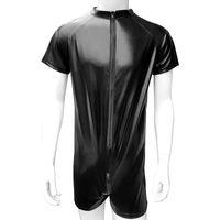 فو الجلود رجل ارتداءها مع شبكة كل جانب مفتوح المنشعب سستة جنسي الملابس الداخلية جنسي للنمذ بذلة النادي الأسود
