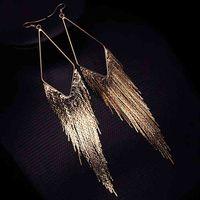Charm Earrings Fashion Gold Color Long Tassel Jewelry Vintage Metal Statement Fringe Dangle Big Earing for Women